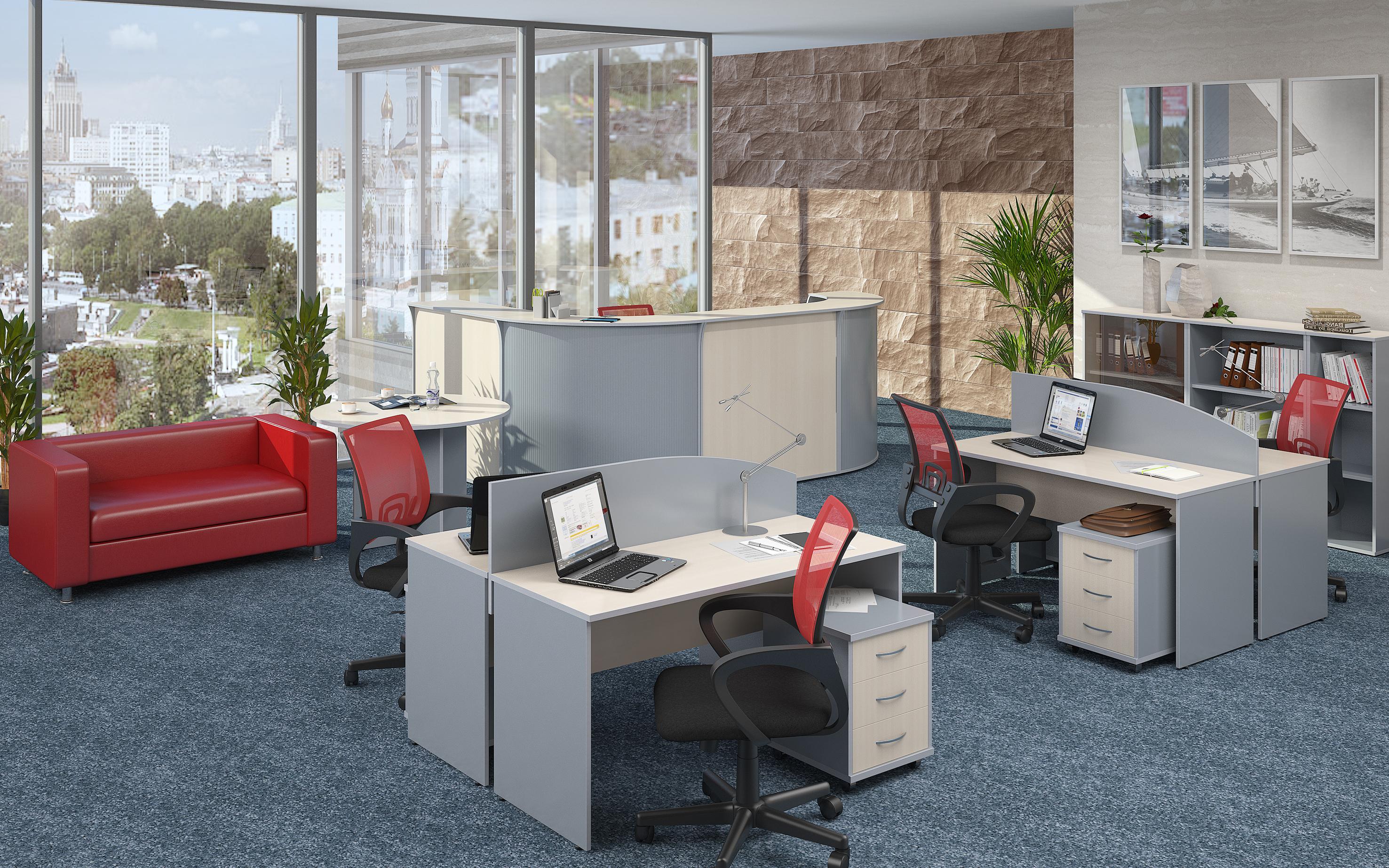 IMAGO_клен ресепшн и рабочие места с экранами кр сетки и кр диван