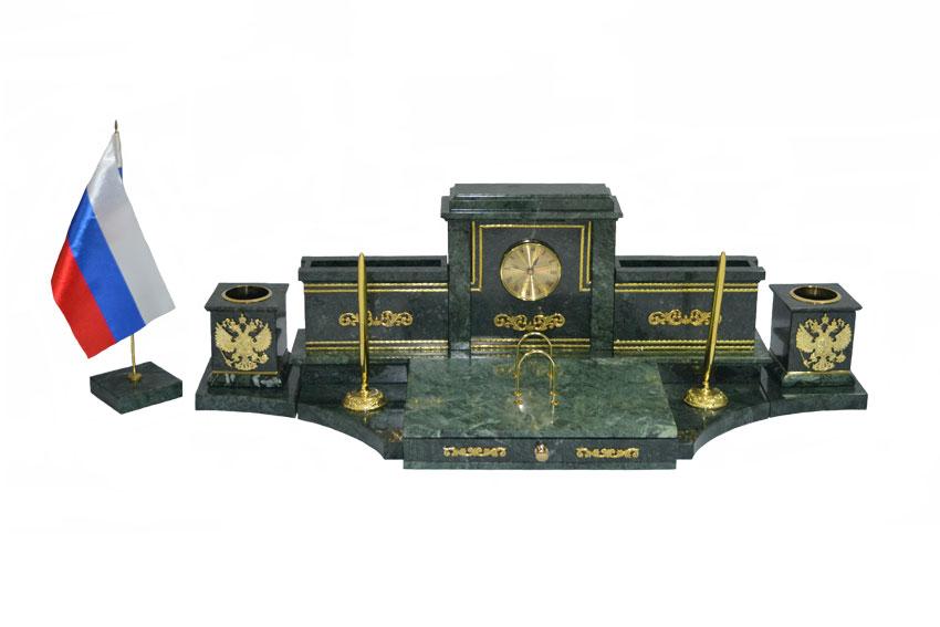 Настольный набор из зеленого мрамора Королевский-2